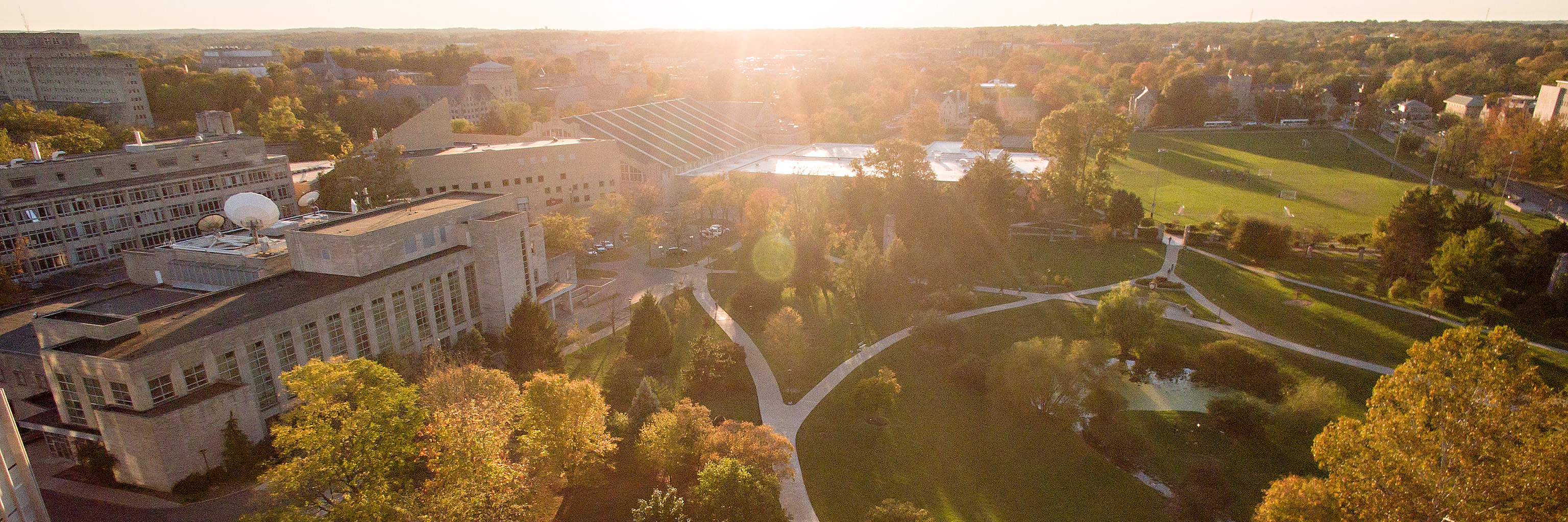 Aerial view of the IU Bloomington campus.