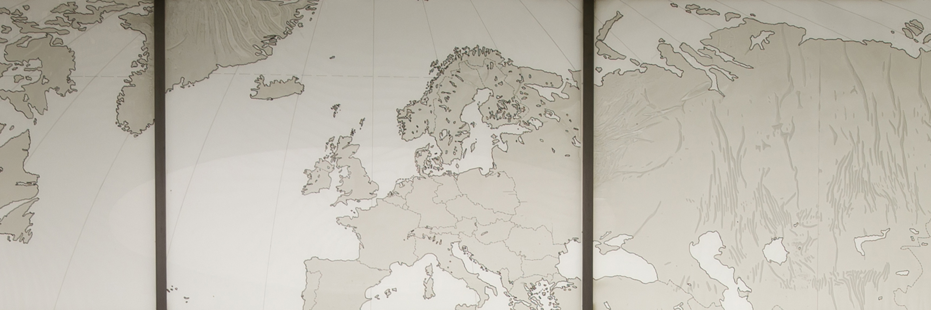 World map display as seen on the Indiana University Bloomington campus.