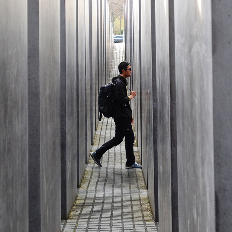 Student explores the Holocaust Memorial in Berlin, Germany.